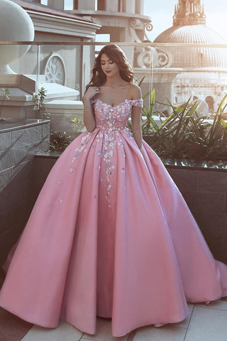 Satin Off The Shoulder A Line Prom Dresses With Handmade Flower And Beads