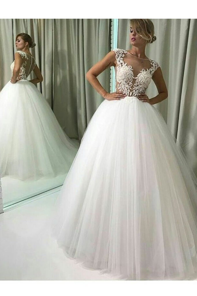 2021 A Line Tulle Bateau With Applique Sweep Train Wedding Dresses