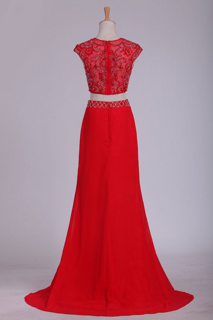 2019 Two Pieces Scoop Prom Dresses Column Chiffon With Slit And Beads