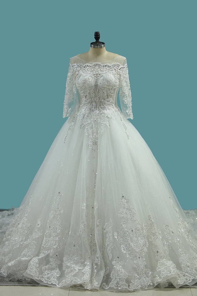 2019 Marvelous Wedding Dresses Scoop Lace Up With Rhinestones Royal Train