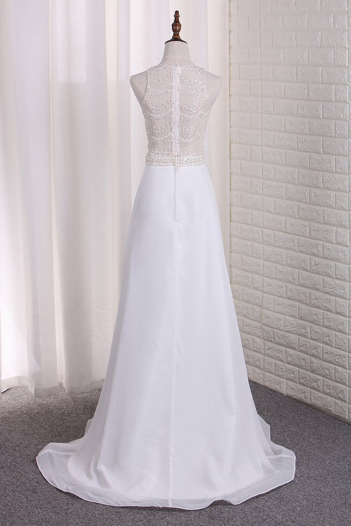 New Arrival A Line Scoop Chiffon & Lace Wedding Dresses With Slit