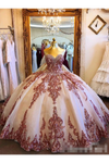 Champagne Tulle Rosewood Appliques Sweet Heart Neckline Ball Gown Quinceanera Dresses Prom SSMPCTTJKBL