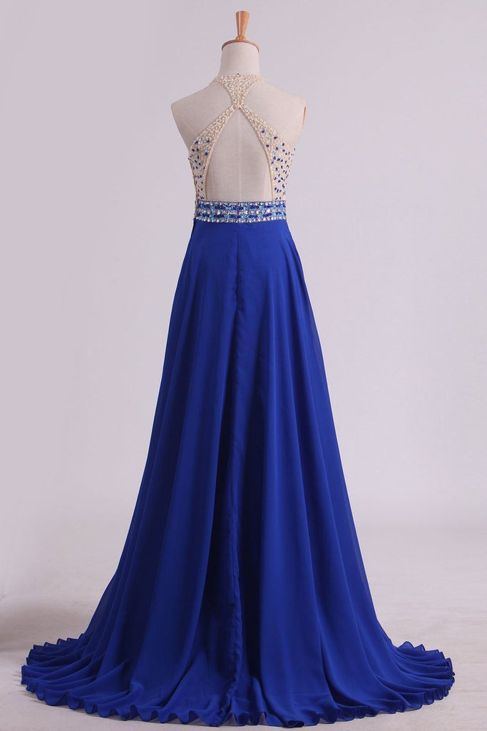 Halter Beaded Bodice Prom Dresses A Line Chiffon & Tulle Sweep Train Backless