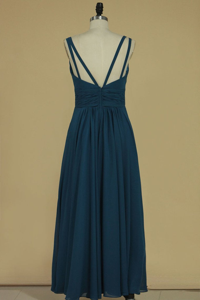 2019 Spaghetti Straps Bridesmaid Dresses Chiffon With Ruffles Floor Length