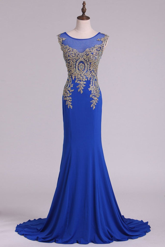 Scoop Prom Dresses Mermaid Spandex With Applique Sweep Train