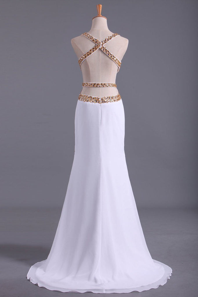 2019 Straps Prom Dresses Open Back Sheath/Column With Golden Beading Chiffon
