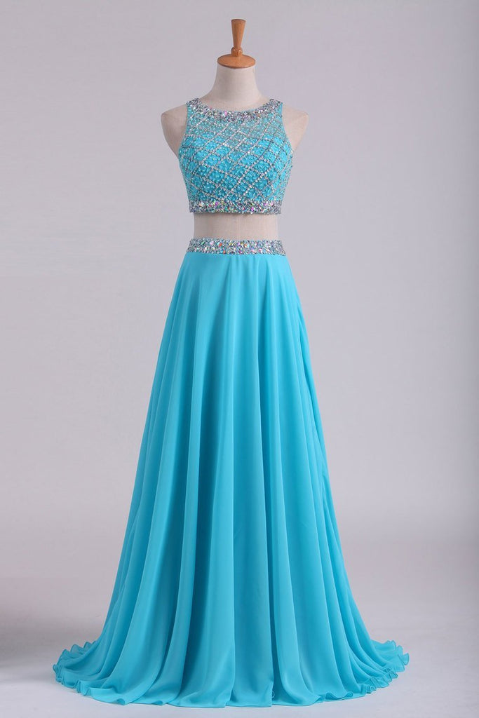 2019 Bateau Two Pieces Prom Dresses A Line Beaded Bodice Open Back Floor Length Chiffon & Tulle
