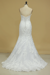 Sweetheart Wedding Dresses Mermaid Tulle With Applique And Beads Court Train