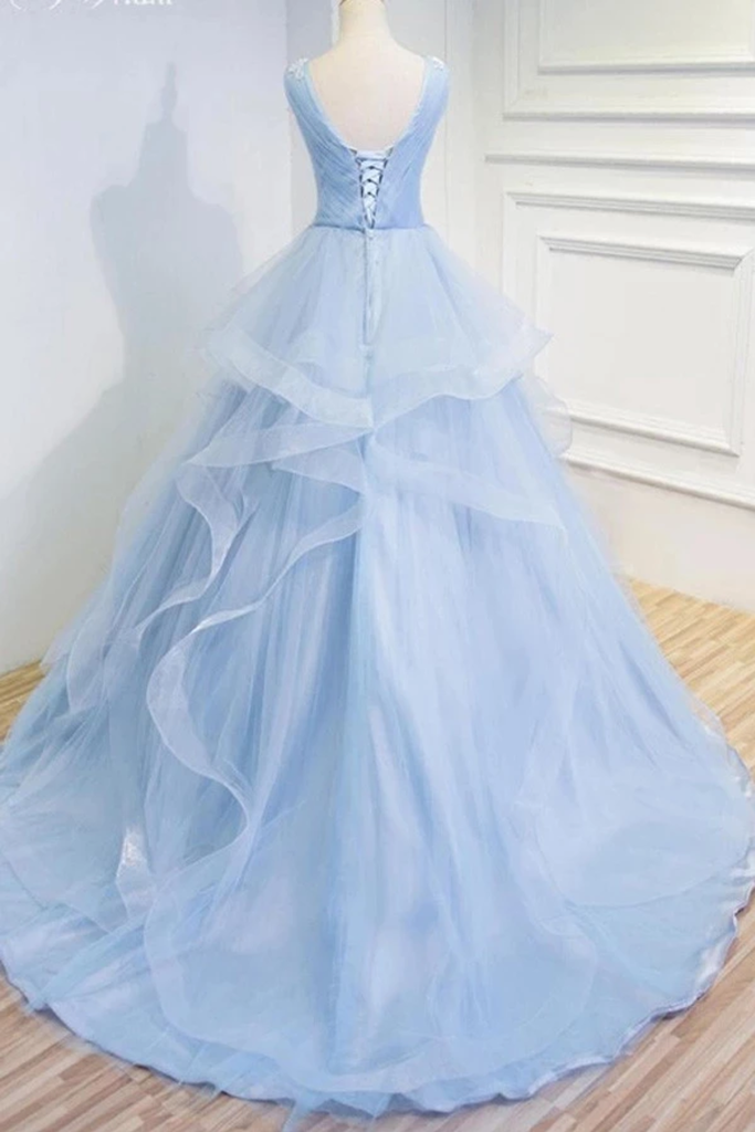 Puffy V Neck Sleeveless Tulle Prom Dress With Appliques Quinceanera SSMP4EM4EZY