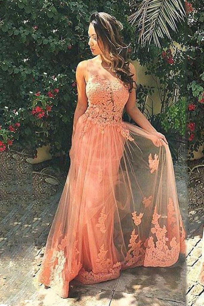 2019 Scoop Mermaid Tulle Prom Dresses With Applique Sweep Train