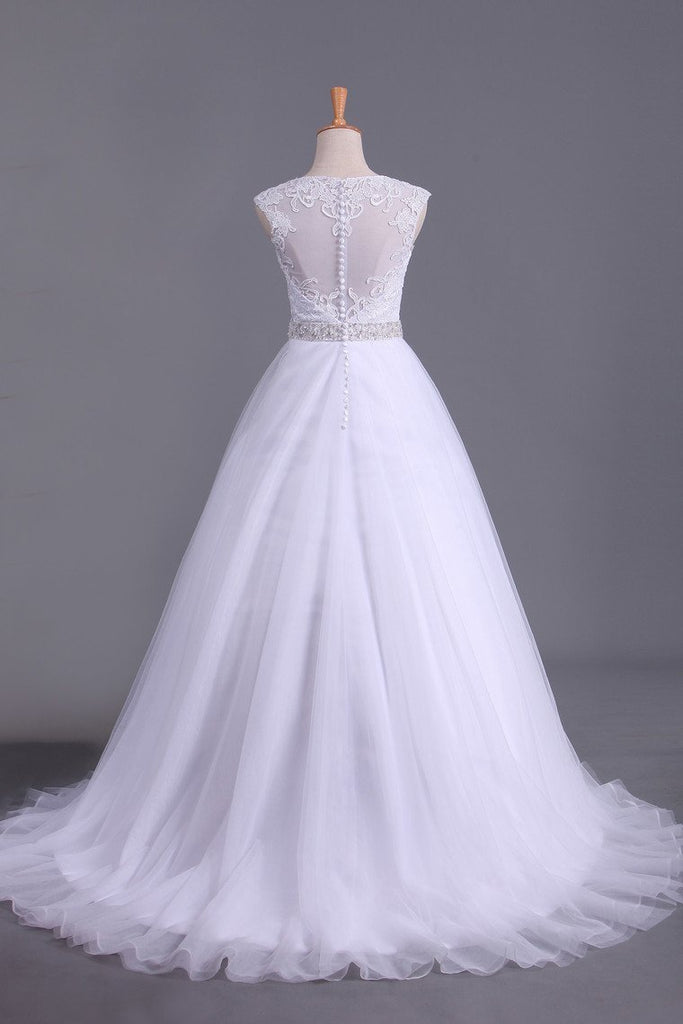 White Scoop Wedding Dresses A-Line Court Train With Beads & Applique