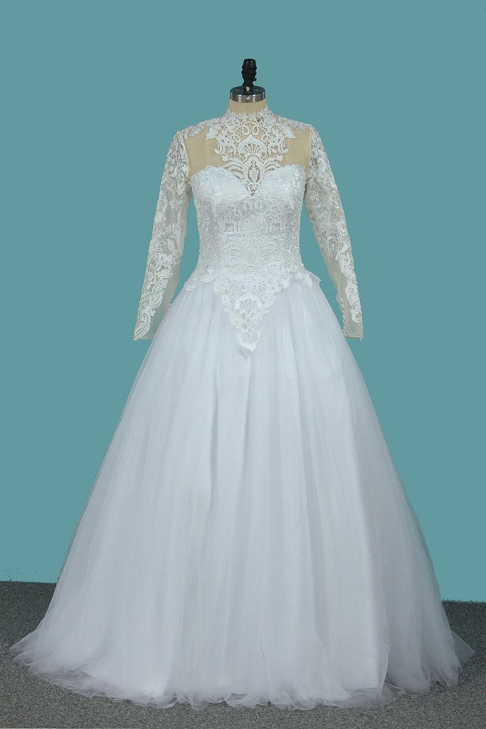 2021 A Line Long Sleeves High Neck Tulle With Applique Chapel Train Detachable Wedding Dresses