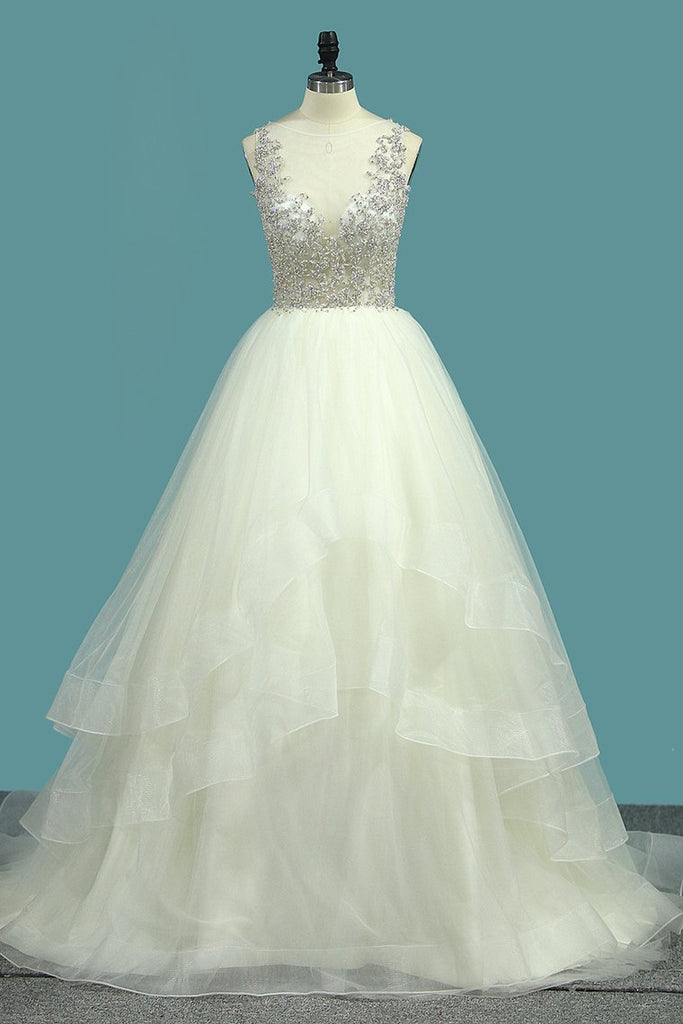 New Arrival A Line Tulle Scoop Beaded Bodice Wedding Dresses
