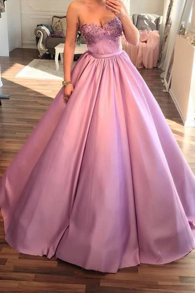 2019 Sweetheart Satin A Line With Beads Prom Dresses
