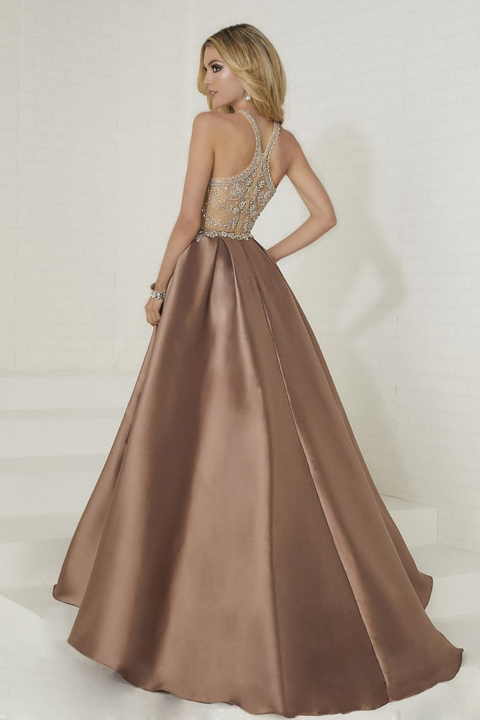 2021 A Line Scoop Satin Prom Dresses With Beads Sweep Train