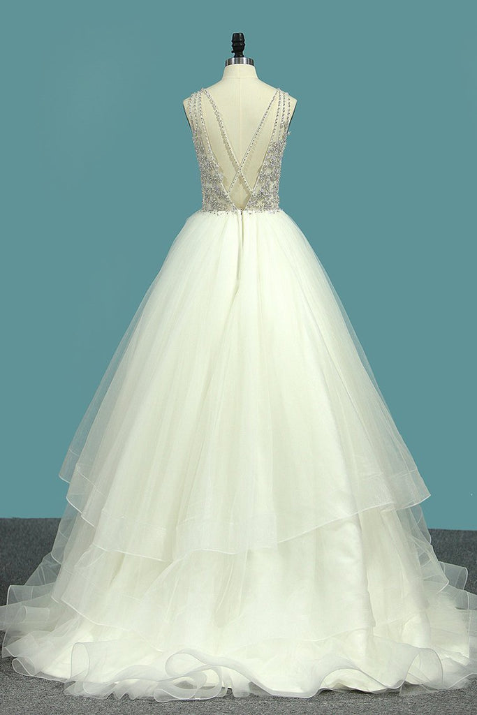 2019 New Arrival A Line Tulle Scoop Beaded Bodice Wedding Dresses