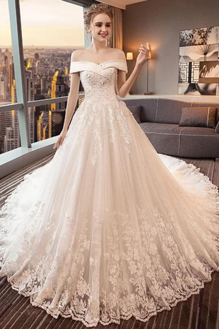 Gorgeous Off The Shoulder Lace Cathedral Train Wedding Dresses Princess Bridal SSMPT58L82L