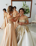 2021 Off-the-Shoulder Sweetheart Long Pink A-Line Beads Open Back Bridesmaid Dresses JS594