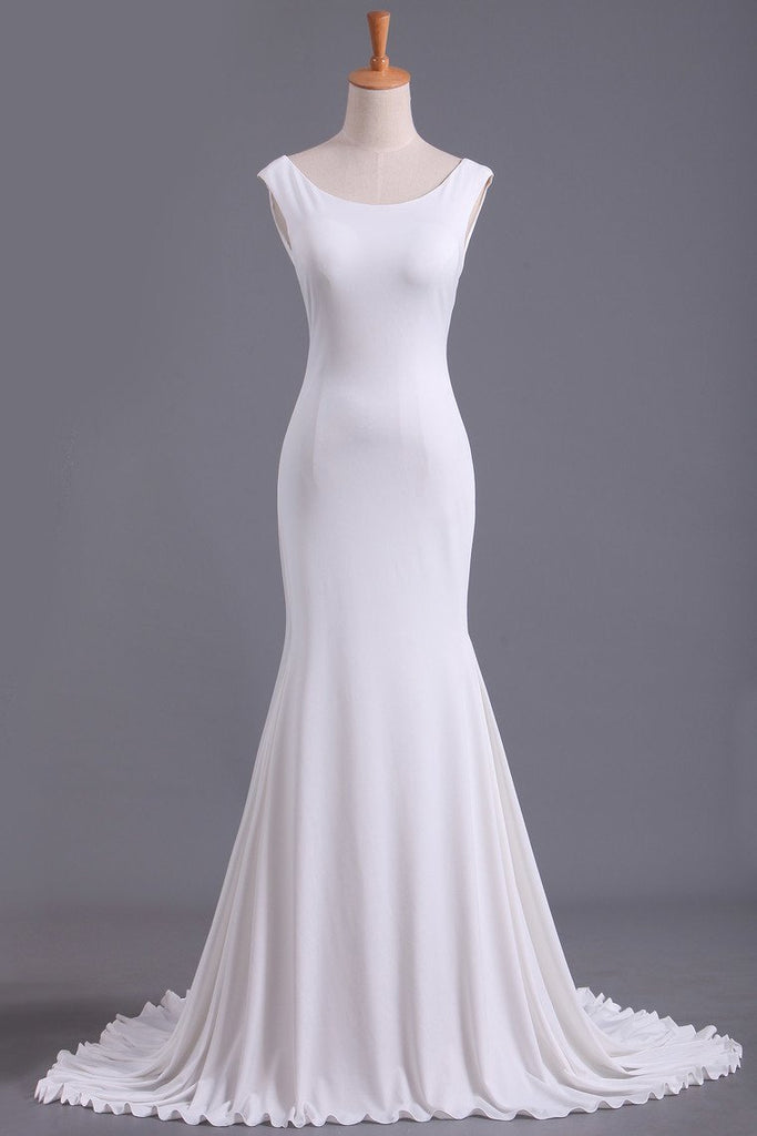White Scoop Mermaid/Trumpet Wedding Dresses Spandex Court Train