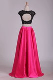 Two Pieces Prom Dresses Scoop Open Back Satin & Lace A Line