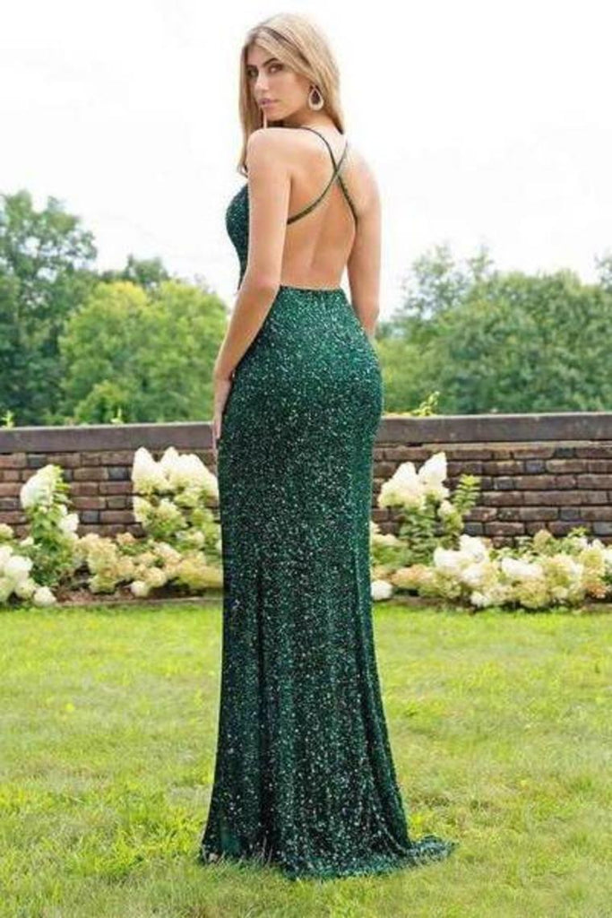 Sexy Trumpet/Mermaid Sequins Open Back Prom Dress Slit