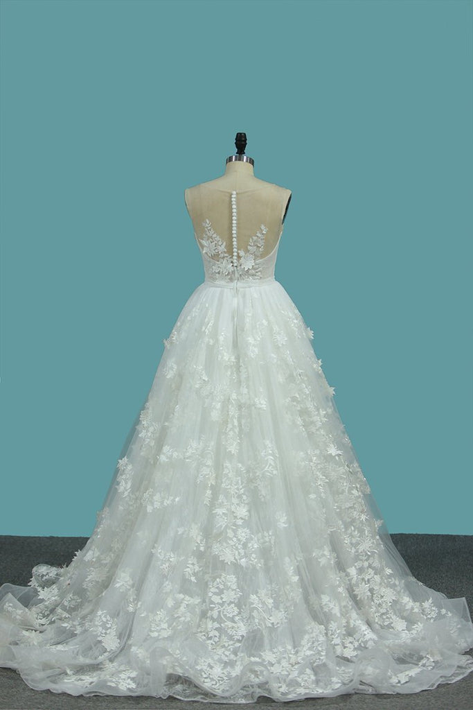 V Neck Lace Mermaid Wedding Dresses With Applique Chapel Train