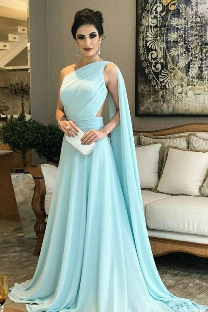 Chiffon One Shoulder A Line Prom Dresses With Ruffles Sweep Train