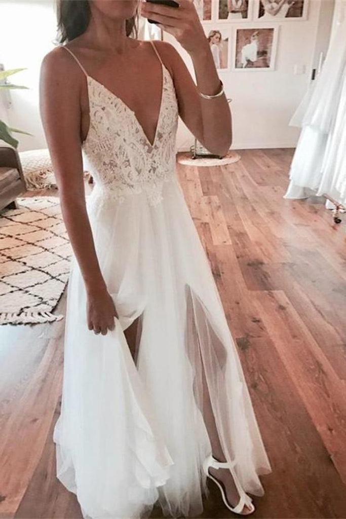 Flowy Spaghetti Straps Ivory Lace Tulle Long V-Neck Beach Wedding Dresses