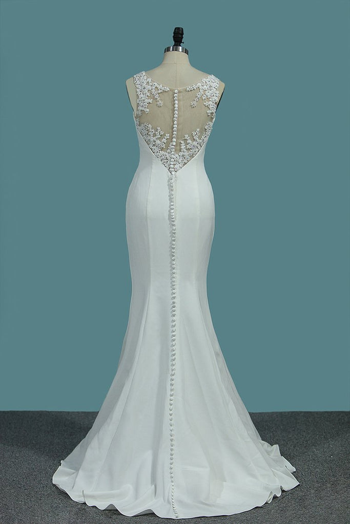 Scoop Spandex Mermaid Wedding Dresses With Applique And Beads Sweep Train