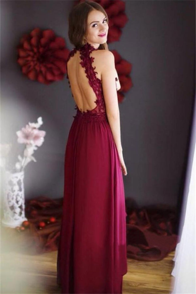 2019 High Neck Open Back With Applique Chiffon A Line Prom Dresses