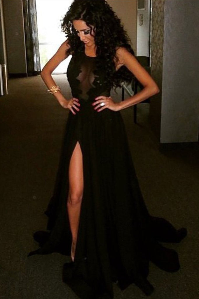 2021 Sexy Black Prom Dresses With Applique And Slit Sweep Train