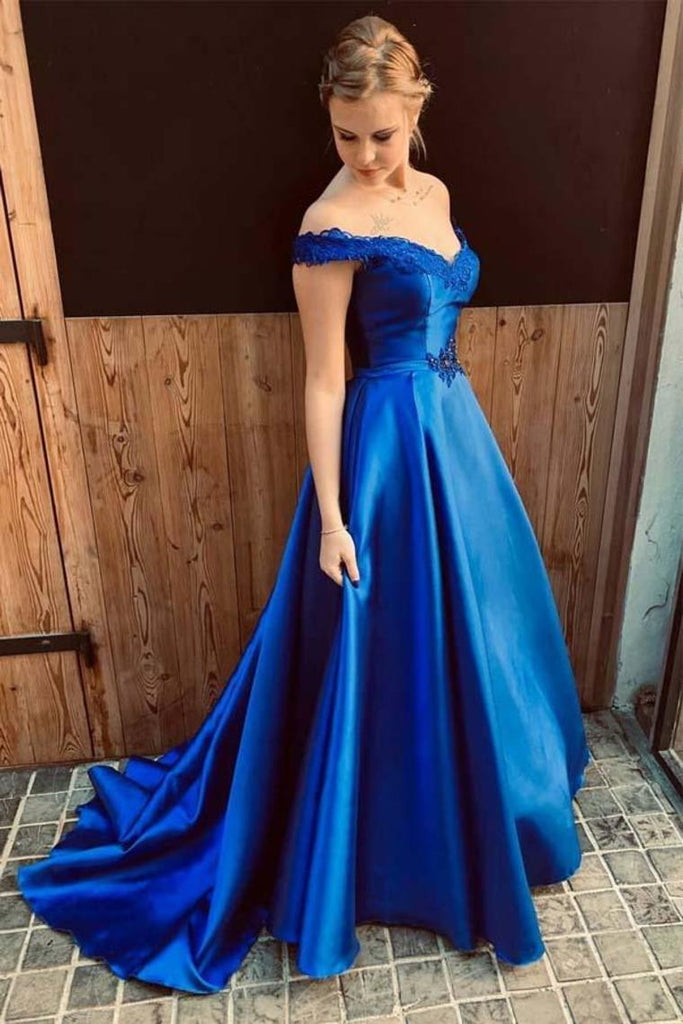 2019 Off The Shoulder Prom Dress Lace Up Back Sain Sweep Train