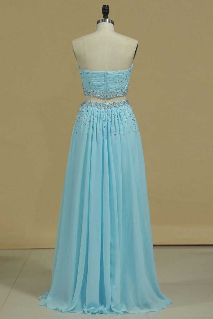 2019 Two Pieces Sweetheart Prom Dresses Chiffon With Beads And Ruffles A Line