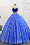 Ball Gown Sweetheart Strapless Blue Prom Dresses with Beading, Tulle Quinceanera Dresses SSM15073
