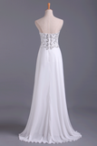 Popular Prom Dresses Sweetheart Chiffon With Beading Floor Length White