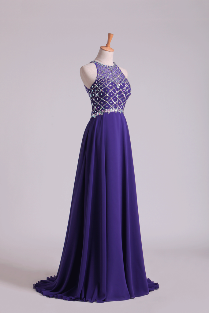 Hot Prom Dresses A Line Scoop Beaded Bodice Chiffon Sweep Train