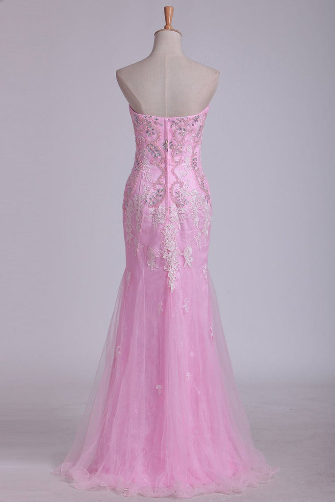 Column Strapless With Beading And Applique Prom Dresses Sweep Train