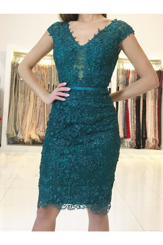 Cap Sleeves Lace Prom Dresses Homecoming Formal Dresses Sheath