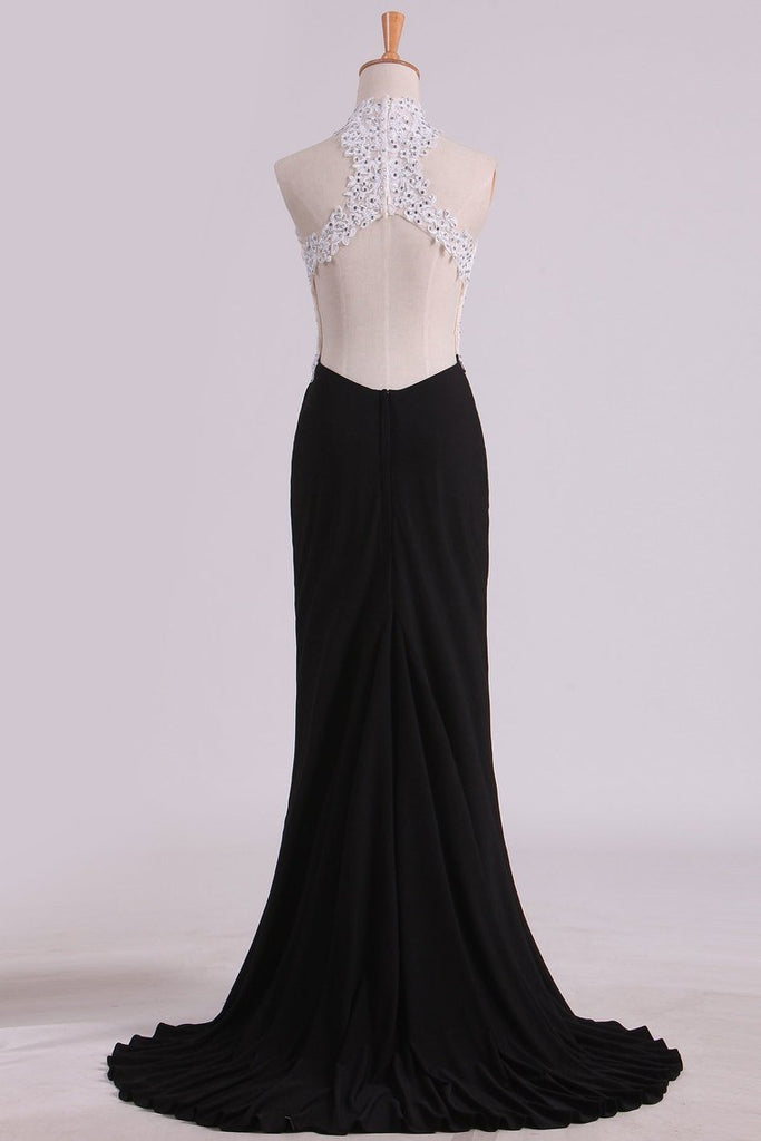 2019 Bicolor Prom Dresses High Neck Sheath With Applique & Beads Sweep/Brush Train