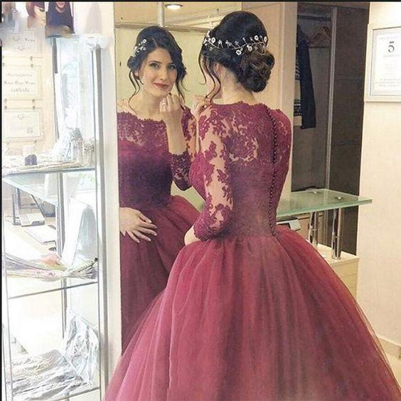 Cheap Burgundy 2021 Lace Three Quarter Sleeve Ball Gown Elegant Long Prom Dresses JS670