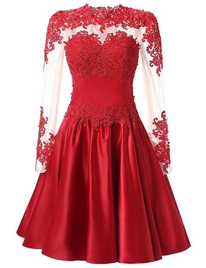 A Line Long Sleeves With Applique Knee-Length High Neck Homecoming Dresses JS326