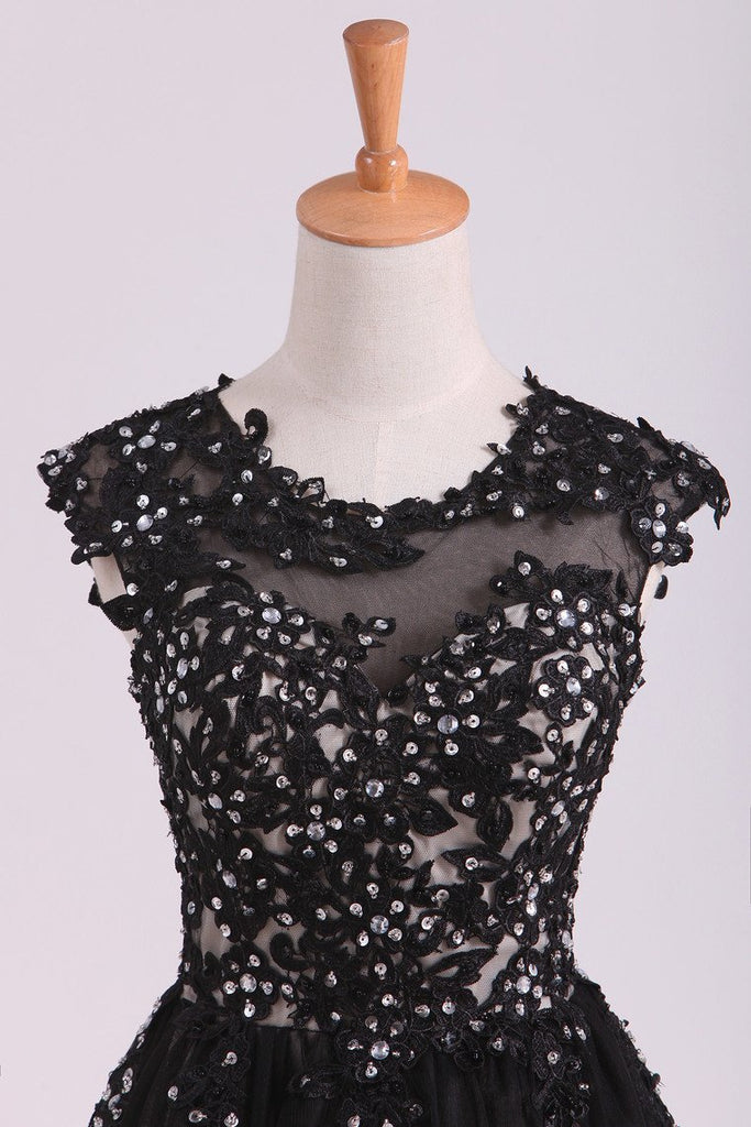Black Scoop Short/Mini Homecoming Dresses A Line Tulle With Applique And Beading