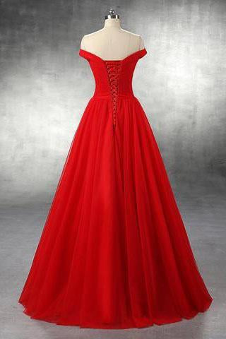 Elegant A-line Off Shoulder Red Lace-up Floor-Length Simple Prom Dresses SSM772