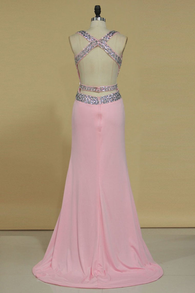 Sexy Open Back Straps Spandex Beaded Bodice Prom Dresses Sheath/Column