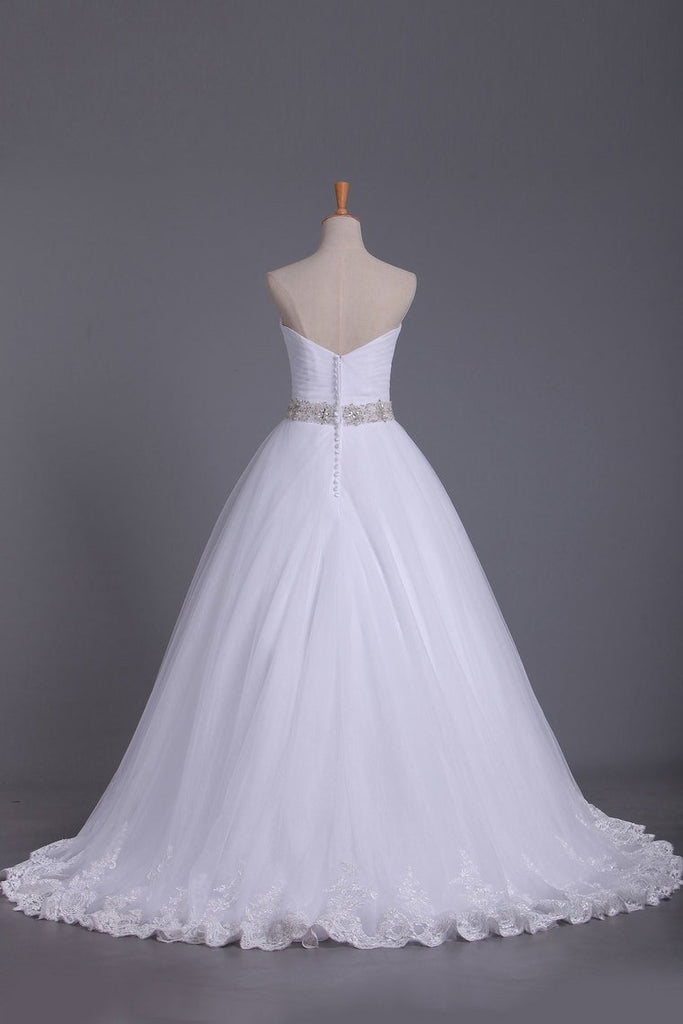 2019 Strapless Tulle Wedding Dresses A-Line With Applique & Beads