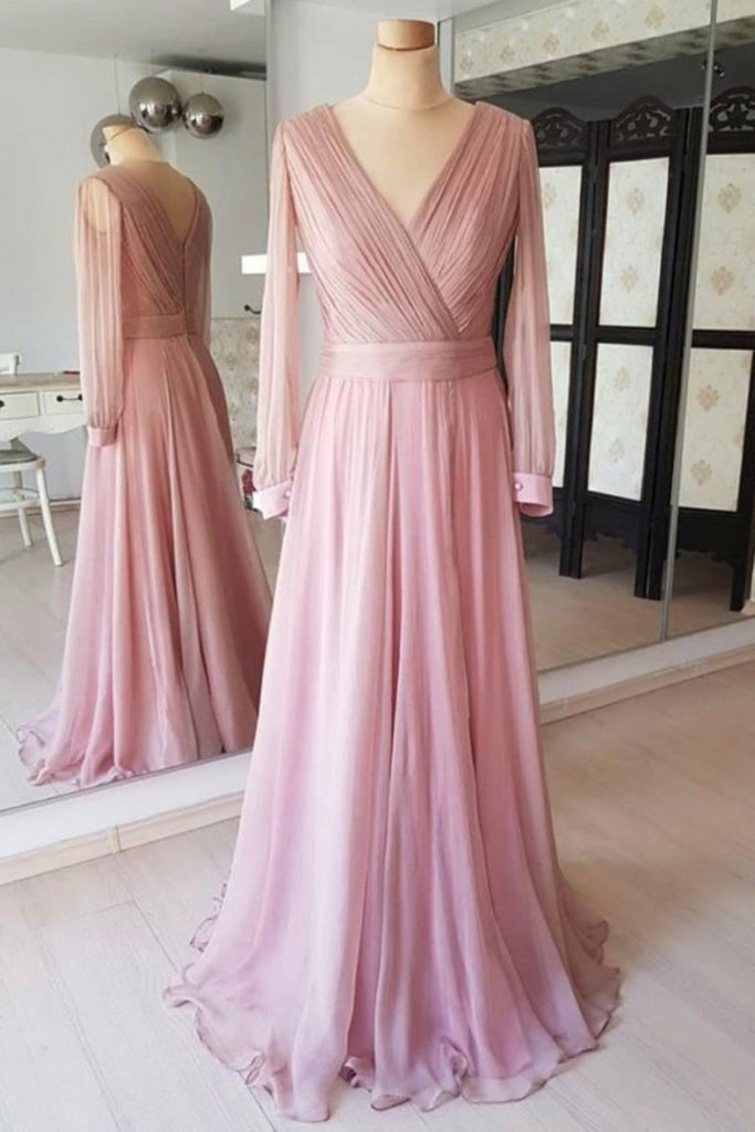 Pretty Flowy Long Elegant Simple Cheap Chiffon Prom Dresses With Sleeves