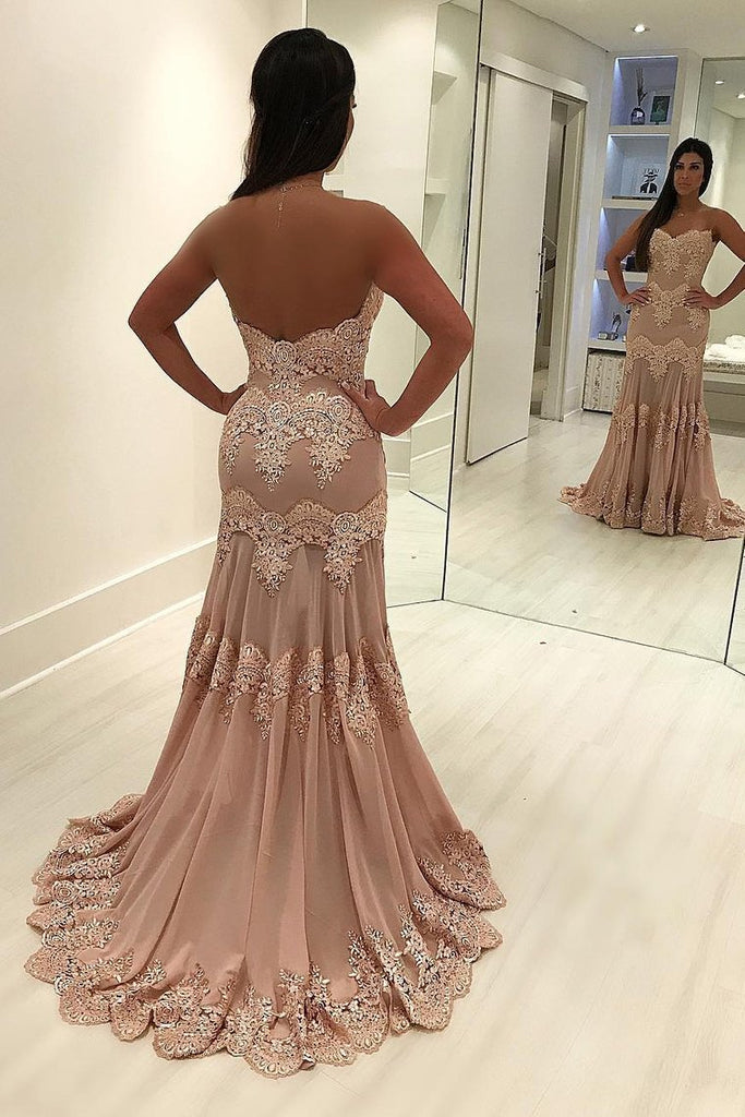 2019 Sweetheart Mermaid Prom Dresses Chiffon With Applique