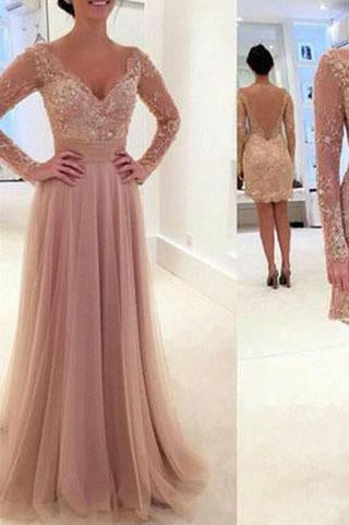 Elegant Long Sleeve Lace Tulle Pink Sexy A-Line V-Neck Prom Dresses 2019 JS974