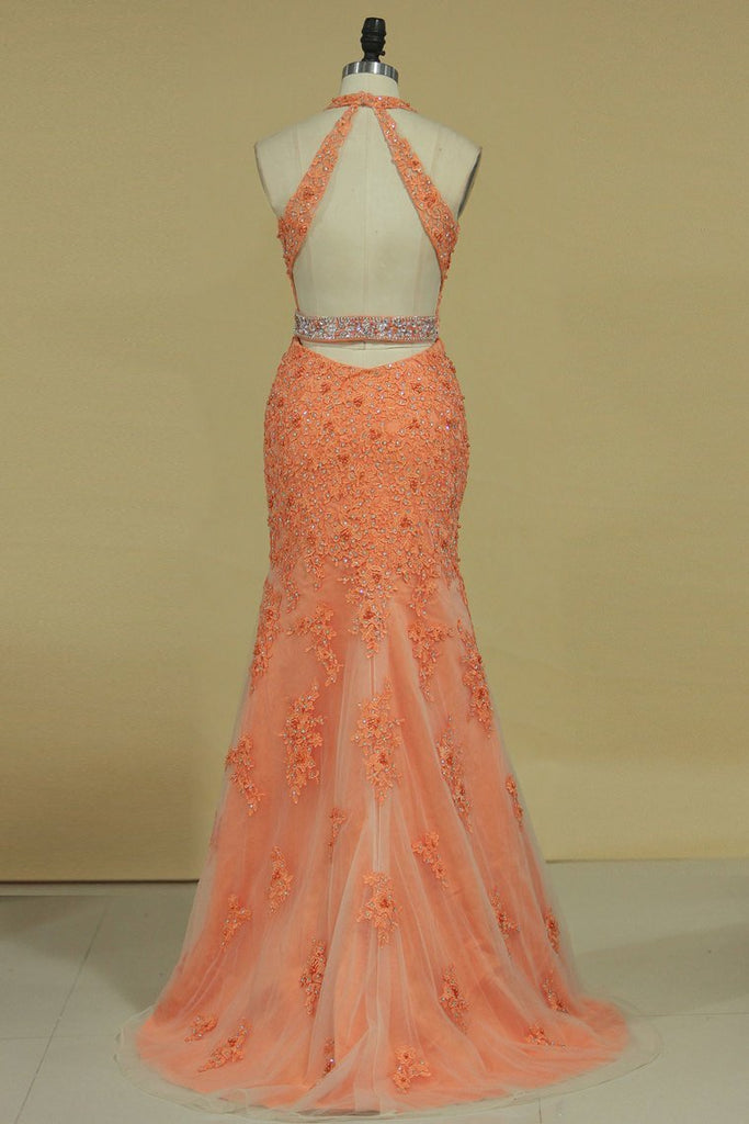 Column V Neck Prom Dresses Tulle With Beading And Applique Open Back