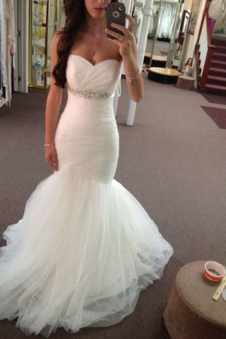 Stunning Sweetheart Mermaid/Trumpet Wedding Dresses Pleated Bodice Tulle Lace Up